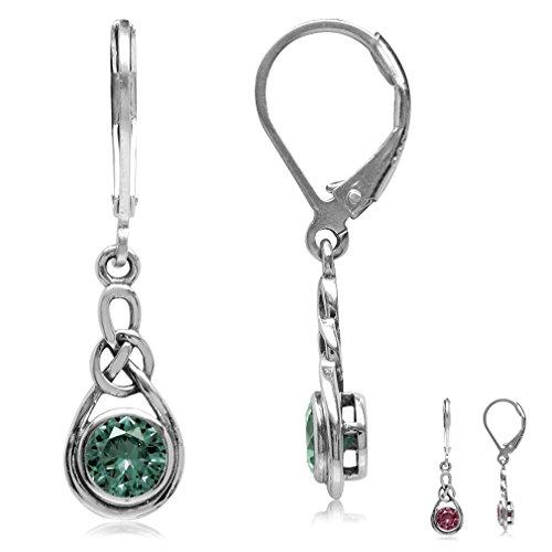 Silvershake Simulated Alexandrite 925 Sterling Silver Celtic Knot Leverback Dangle Earrings