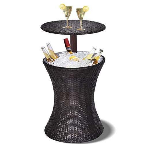 Adjustable Outdoor Bar Table with Built in Ice Cooler