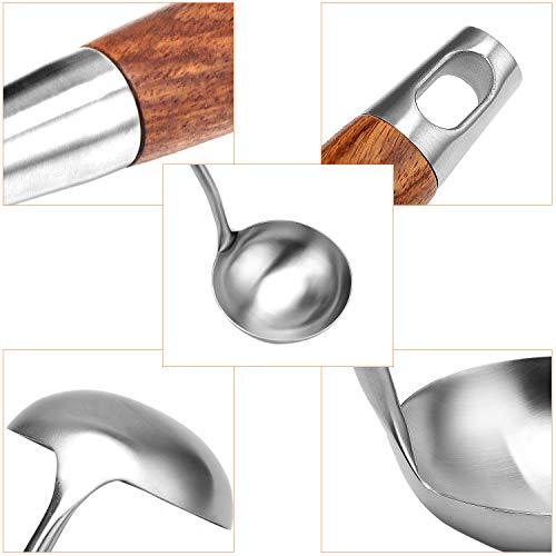 TsunNee Juego de 2 utensilios de cocina de acero inoxidable 304, espátula de acero inoxidable y cucharón de sopa con mango largo de madera resistente al calor
