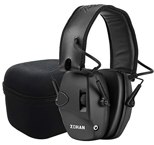 ZOHAN EM054 Electronischer Gehörschutz Schiessen Jagd, Schießstand Elektronischer Gehörschützer, Lärmdämpfung Klangverstärkung Aktiver Ohrenschützer, NRR22dB SNR 27dB, (MEHRWEG) Schwarz