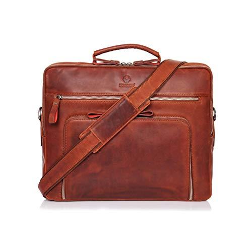 DONBOLSO® Laptoptasche San Francisco 15,6 Zoll Leder I Umhängetasche für Laptop I Aktentasche für Notebook I Tasche für Damen & Herren (Rotbraun)