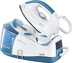 AEG DBS 3350-1 Dampfbügelstation (Betriebsbereit in 1,5 min, 4,5 Bar Dampfdruck, Dampfstoß 115g/Stoß, Edelstahl-Bügelsohle, Restwärmeanzeige, Abschaltautomatik, 1,2l Wassertank, 2m Kabel) weiß/blau