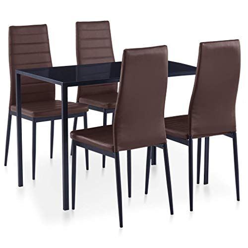 vidaXL Essgruppe 5-TLG. Esszimmertisch Esstischset Esszimmergarnitur Küchentisch Esszimmer Stuhl Tisch Set Sitzgruppe Esstisch mit 4 Stühlen Braun
