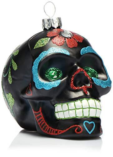 com-four® Weihnachtsbaumschmuck Totenschädel - Weihnachtsanhänger für den Christbaum - Weihnachtsbaum Deko aus Glas - Dia De Los Muertos (01 Stück - schwarz/grüne Augen)