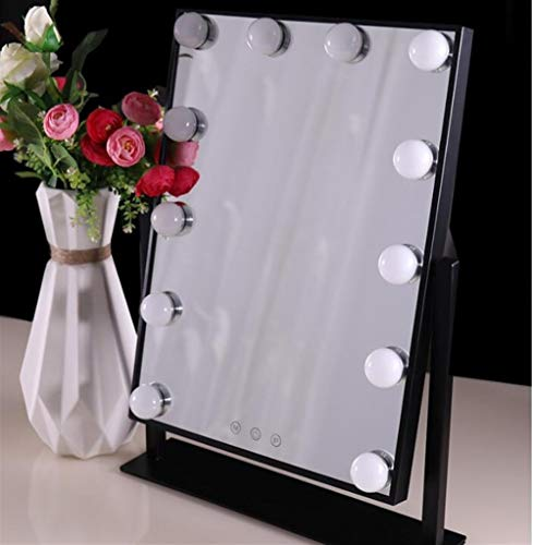 ASDFGH Glowing WC-spiegel met 12 dimbare LED-lampen en Touch Control Design, spiegel in Hollywood met licht, wit, zwart