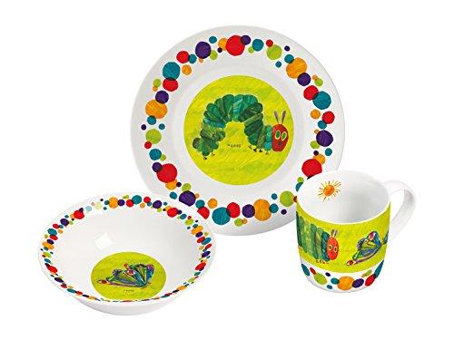 Raupe Nimmersatt Frühstücksset 3-teiliges Porzellanset, Porzellan, Mehrfarbig, 22,5 x 9,5 x 19,5 cm, 3-Einheiten