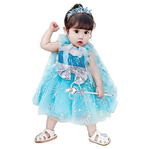 Lito Angels Vestidos de princesa Elsa para nias, disfraces de Halloween, fiesta de disfraces, capa larga, 3-4 aos, color azul 264
