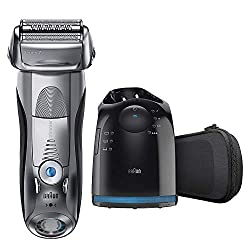 Dry shaving requires the right tool, like this electric razor with cleaning system, available from Amazon.