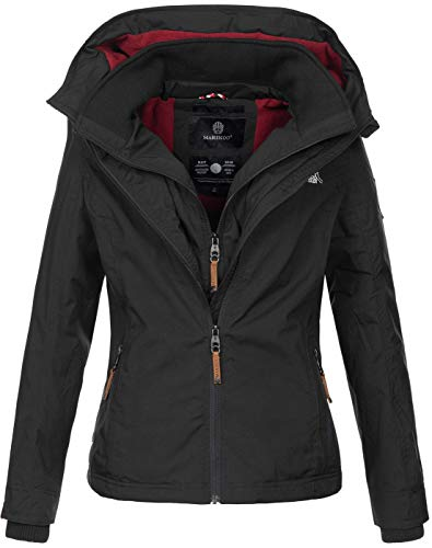 Marikoo Designer Damen Übergangs Jacke leicht gefüttert Kapuze kurz B659 [B659-Erdbeer-Schwarz-Gr.XL]