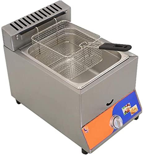 CDFCB Gas Fryer de Profundidad de Acero Inoxidable de Acero Inoxidable de 8 litros Freidora Profunda fácil de Limpiar Tanto para Uso doméstico como para Uso Comercial