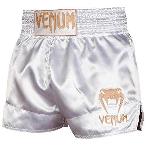 VENUM Pantalones Cortos Classic Thaibox, Unzutreffend, Clásico, Unisex Adulto, Color Blanco/Dorado, tamaño Small
