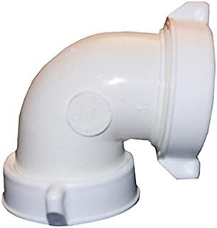LASCO 03-4263 White Plastic Tubular 1-1/2-Inch Slip Joint One End X Captive Nut 90-Degree Elbow with Nuts and Washers