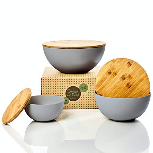 bambuswald© ökologische Salatschüssel mit Deckel aus Bambus - 3 Größen zur Auswahl | Bambusschüssel in 0,9L 1,9L oder 4L - nachhaltige & robuste Kochschüssel für die Küche