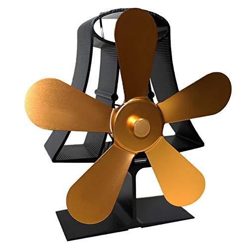 Starnearby kachelventilator met 5 vleugels, ventilator voor houtkachel en open haard, stil 1100 tpm, zonder stroom voor warmtecirculatie azul claro