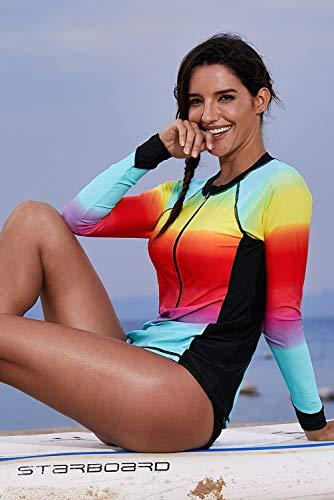 Happy dumplings XL Badeanzug Bikini Surf Bekleidung Langärmeliger, einteiliger Badeanzug mit UV-Schutz und weiblichem Aufdruck Neoprenanzug mit offenem Reißverschluss,Blue,XL