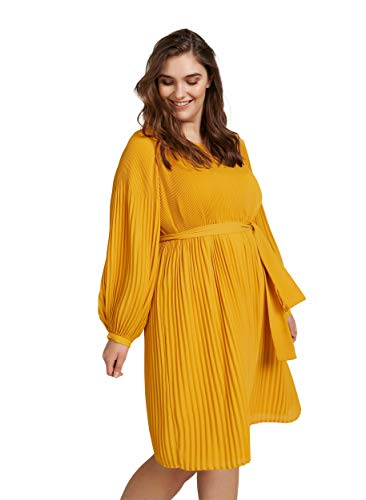 Zizzi Damen Casual Kleid, Gelb (Yellow 1238), X-Large (Herstellergröße: XL (54/56))