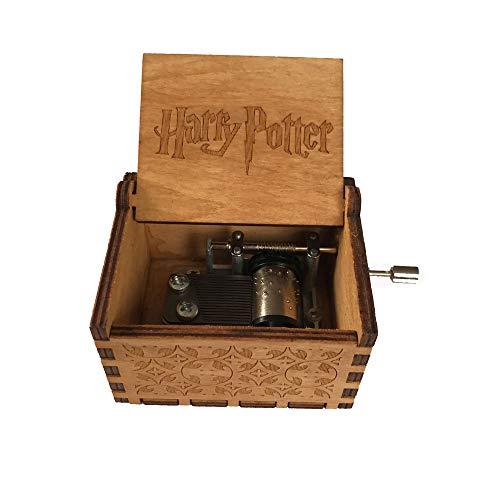 WZZD Caja De Música De Madera Clásica Tallada A Mano Caja De Música Manualidades De Decoración del Hogar, para Niños Amigos Harry Potter