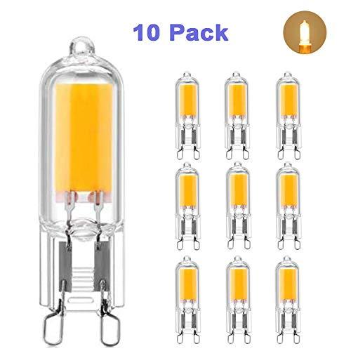 10X G9 LED Lampen 2W Kambo, G9 LED Leuchtmittel COB Birne Warmweiß 3000K 230LM Ersatz 20W Halogenlampen 80Ra Full Glas Körper Energiespar 360°Abstrahlwinkel AC 220-240V 10 Pack