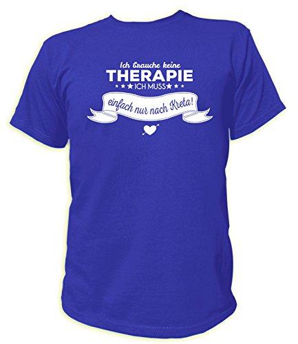 Artdiktat Herren T-Shirt Ich Brauche Keine Therapie - Ich muss einfach nur nach Kreta Größe XXL, blau