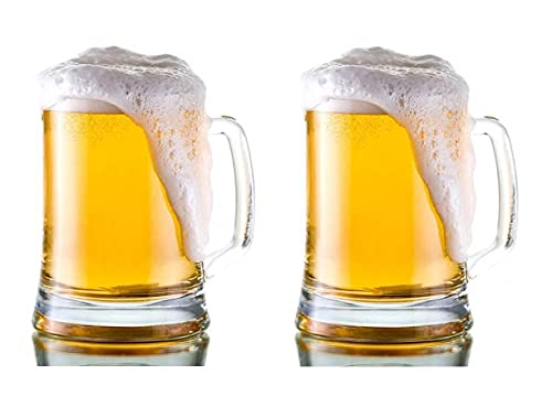Set de 2 jarras de cerveza de cristal duro de 550