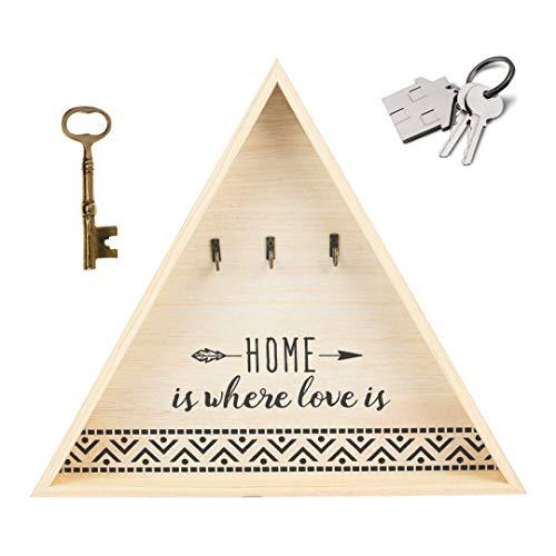 LNG – Caja de llaves de pared – 3 ganchos – Perchero decorativo en forma de triángulo
