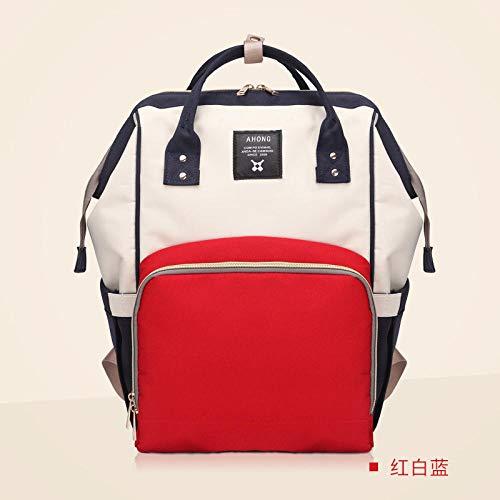 qiqiu Wickeltasche Rucksack Mumientasche, Babytasche, multifunktional, große Kapazität, Wickeltasche - Rot, Weiß, Blau Wickelrucksack für Mama