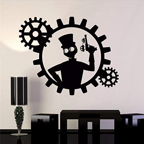 Waofe Direktverkauf Verkauf Vinyl Wandtattoo Steampunk Mann Gun Gears Decor Aufkleber Wandbilder Home Decals Design Wohnzimmer Aufkleber 57 * 72 Cm