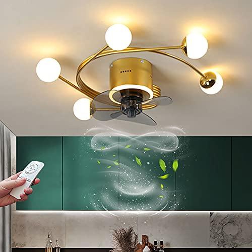 Ventilador de Techo con Luz LED Silencioso Fan Lámpara de Techo Regulable con Mando a Distancia Iluminación de Ventilador Moderna para dormitorio salón con Temporizador y 3 Velocidad del Viento
