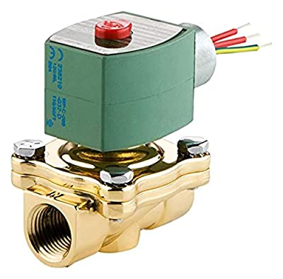 """ASCO 8210G054-24/DC Brass Body Pilot Operated General Service Solenoid Valve, 1"""" Pipe Size, 2-Way Normally Closed, Nitrile Butylene Sealing, 1"""" Orifice, 13 Cv Flow, 24/DC, NPT Female Connector, Brass by ASCO Valve"""