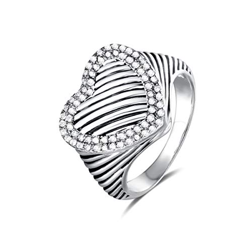 UNY Ring Twisted Cable Wire Designer Inspired Fashion Brand David Vintage Heart Pave CZ Antique Women Jewelry Gift (White, 6)