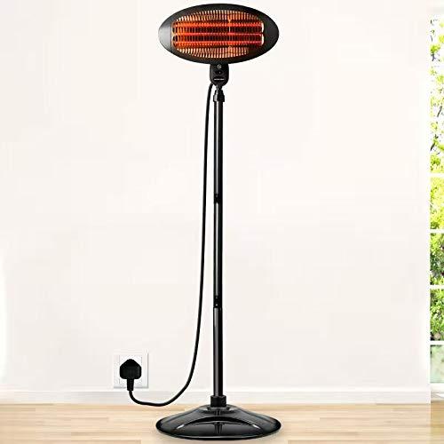 JIANRUI 2KW Garden Patio Heater Indoor Electric Heating Free Standing Waterproof Outdoor Patio Heaters