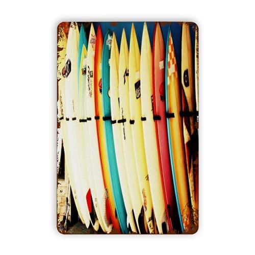 CIKYOWAY Letreros de metal, juegos de cama con estampado de tabla de surf retro, cartel de chapa, pintura de hierro para pared, decoración de pared, arte, placas retro, cartel, placa colgante, regalo