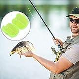 50Pcs Cajas de anzuelo de señuelo flotante liviano Accesorio de pesca, Mini cubiertas de anzuelo de señuelo de calamar, Estuches de cebo amarillo fluorescente Set apto para merluza de bajo de brema