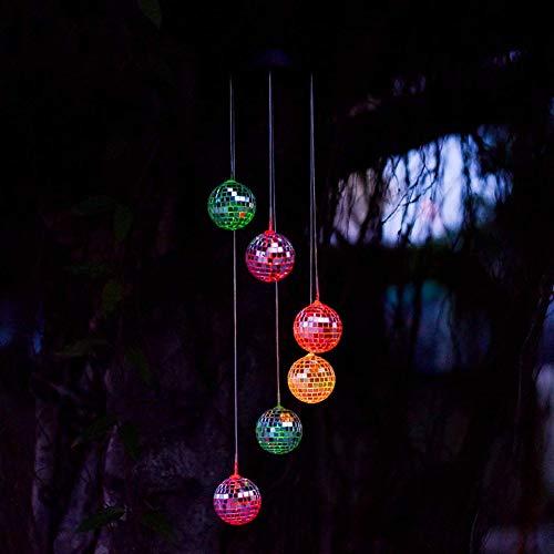 JoyFan Solar Mobile Windspiel 6 Wunschflaschen Farbwechsel Wasserdicht LED Hängelampe Nachtlicht für Outdoor Garten Haus Dekoration, multi, Mirror ball
