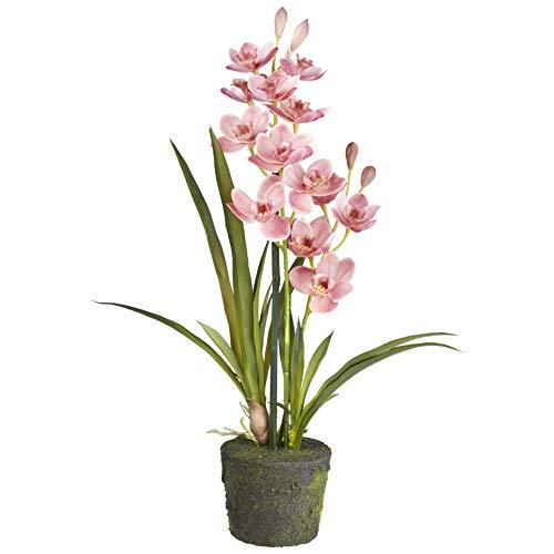 HTT Decorations - Künstliche Orchidee Cymbidium - Hochwertige Kunstpflanzen - Rosa 2 - Zweige - 60 cm hoch