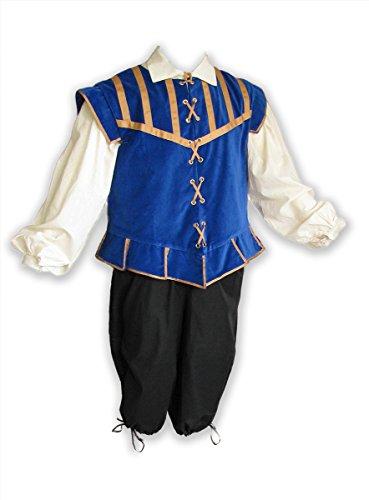 Renaissance Doublet for Men, 3 Pc Costume, Game of Thrones, Ren Faire, Mens Got Cosplay Custom Wedding Regular Plus Size Blue