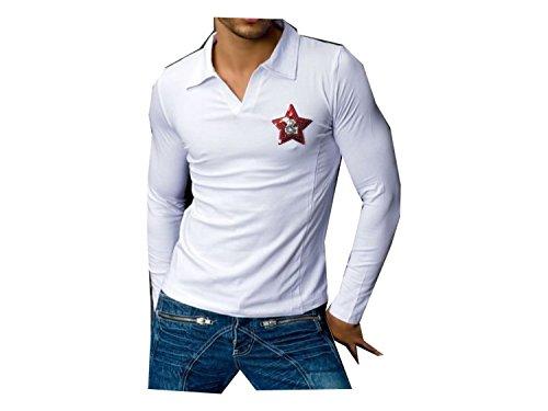 James jones T Shirt COL Polo Blanc Manches Longues