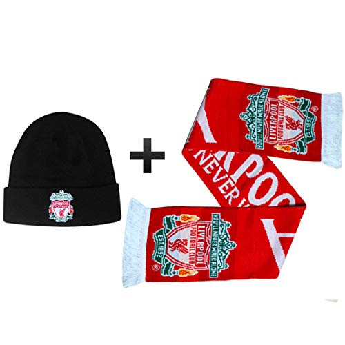 Super Reds officiële Liverpool FC Bronx hoed & voetbal Crest sjaal geschenkset (100% acryl)