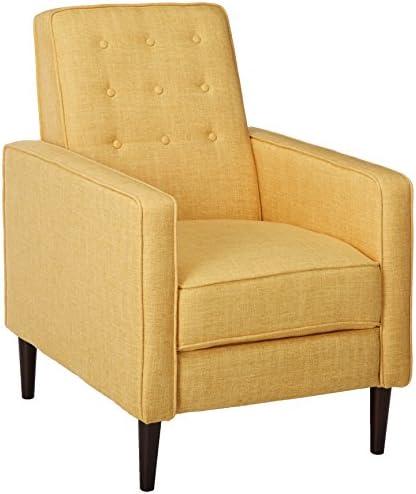 Best Christopher Knight Home Mervynn Mid-Century Modern Fabric Recliner, Muted Yellow / Dark Espresso