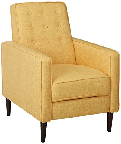 Christopher Knight Home Mervynn Mid-Century Modern Fabric Recliner, Muted Yellow / Dark Espresso