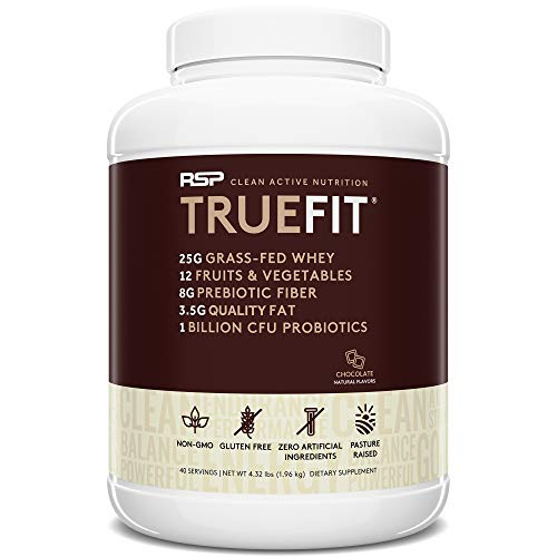 RSP TRUEFIT - Protein Powder Meal Replacement Shake for Weight Loss, Grass Fed Whey, Organic Real Food, Probiotics, MCT Oil, Non-GMO, Gluten Free, No Artificial Sweeteners, 4.32 LB Chocolate