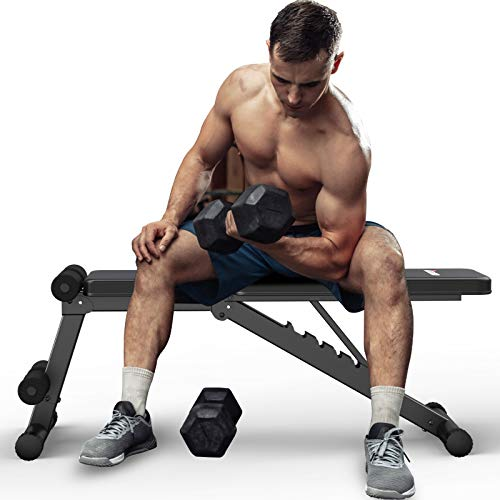 BOTORRO Weight Bench Adjustable Strength Training Benches Full Body Workout Foldable Incline Decline Exercise Bench Press for Home Gym