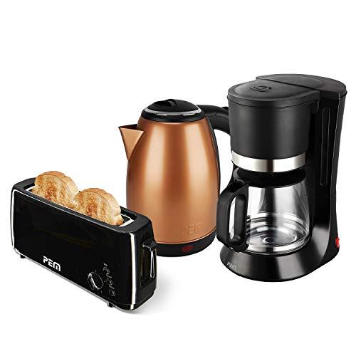 Waterkoker koper 1500 W 1,8 L broodrooster 1 gleuf lang 1000 W + koffiezetapparaat 680 W 1,2 l