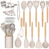 Umite Chef Kitchen Cooking Utensils Set, 24 pcs Non-stick Silicone Cooking Kitchen Utensils Spatula Set with Holder, Wooden Handle Heat Resistant Silicone Kitchen Gadgets Utensil Set (Khaki)