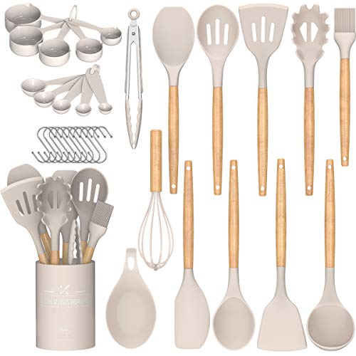 Umite Chef Kitchen Cooking Utensils Set, 24 pcs Non-stick Silicone Cooking Kitchen Utensils Spatula Set with Holder, Wooden Handle Heat Resistant...