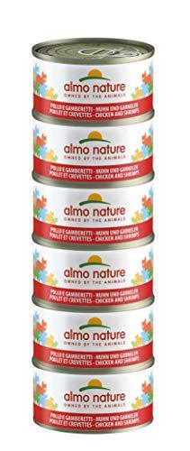 Almo Nature Mega Pack -Pollo e Gamberetti, Cibo Umido per gatti adulti 100% Naturale. Confezione da 6 lattine x 70g