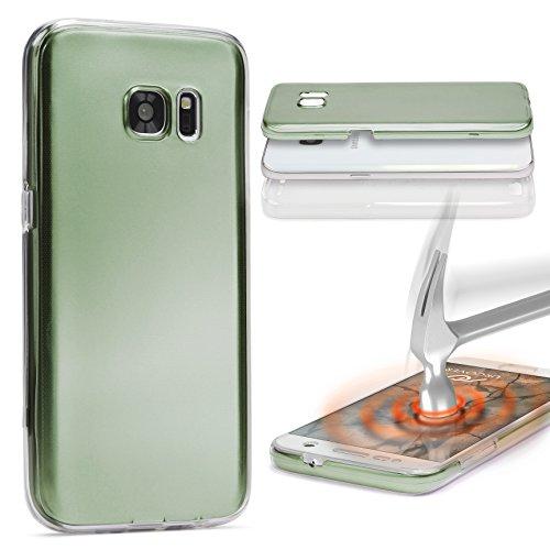 Urcover® Metalloptik 360 Grad Hülle kompatibel mit Sony Xperia M5 | TPU in Grün | Ultra Slim Zubehör Tasche Hülle Handy-Cover Schutz-Hülle Schale