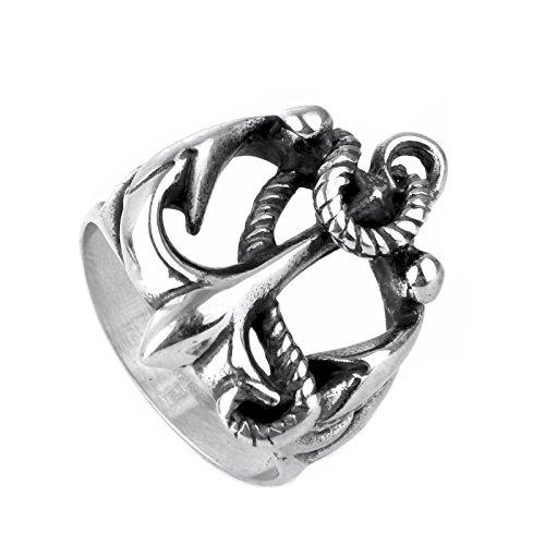 COPAUL de acero inoxidable ancla vela anillo de los hombres, plata, tamaños 54 (17.2 - 70 (22.3)