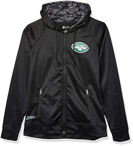 NFL New York Jets Men's Full Zip Hoodie, Black, X-Large