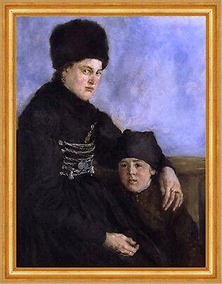 Kunstdruck Dachau Woman and Child Wilhelm Leibl Mutter Tochter Mode Hut B A3 03450 Gerahmt